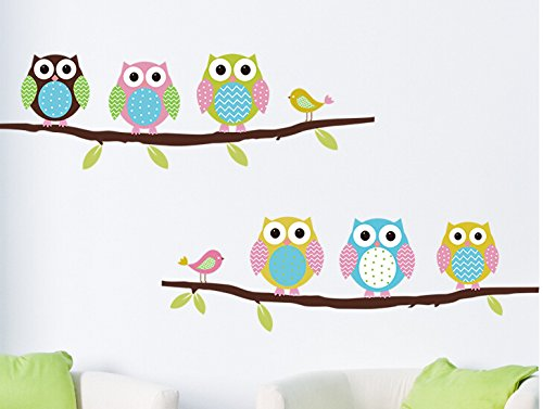 Home Wall Decor Decals Poster House Wall Stickers Quotes Removable Vinyl Large Wall Sticker For Kids Rooms Sticker Owls W-589 front-93356