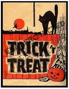 [Primitive Halloween Trick or Treat Black Cat Print PT7 8x10] (Blow Up Costumes Party City)