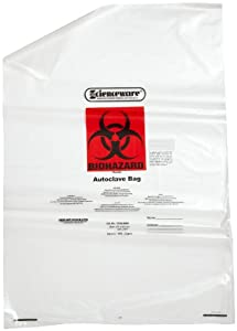 "Bel-Art Scienceware  131620009, 24"" Width x 36"" Height x 1.5  Mil Thick, 15 to 20 Gallon Capacity  Polypropylene Clear Biohazard Waste Disposal Bag, with Warning Label and Sterilization Indicator Patch (Pack of 100)"