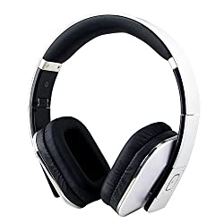 August EP650 Bluetooth Wireless Stereo Headphones - Comfortable Leather Cushioned Headset with built-in Microphone, 3.5mm Audio In Socket and Rechargeable Battery - Compatible with Cell Phones, iPhone, iPad, Laptops, Tablets, Smartphones etc. (White)
