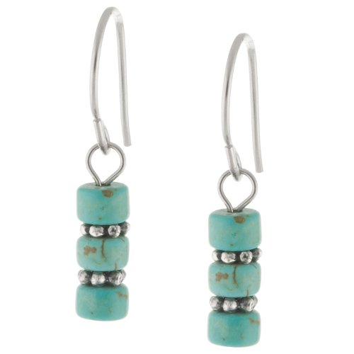 Sterling Silver Turquoise Round Beaded Drop Earrings
