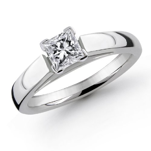 Princess Cut Cathedral Solitaire Diamond Ring