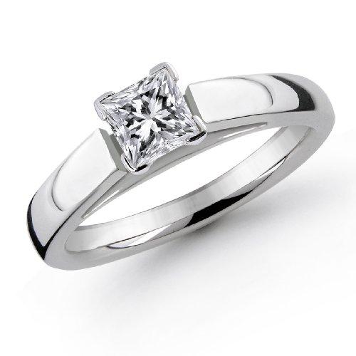 14K 1 3 Carat Princess Cut Solitaire Diamond Ring I J I1 2 B000HAMINU