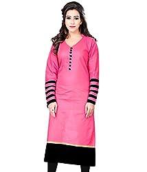 Maa Textile Women's pink cotton semi-Stitched kurtis(K1005-04_pink_free size)