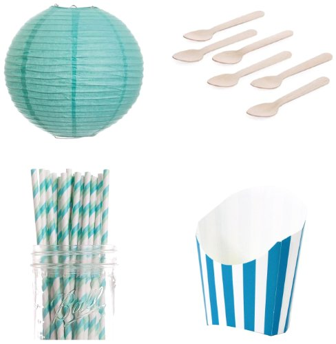Dress My Cupcake Dessert Table Party Kit, Includes French Fry Box Containers, Lanterns and Aqua and Green Striped Straws (Dessert Table Containers compare prices)