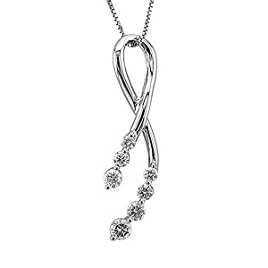 14k White Gold 7-Stone Ribbon Journey Diamond Pendant Necklace (GH, I1-I2, 0.38 carat)