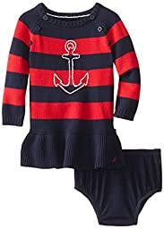 Nautica Baby Girls\' Anchor Sweater Dress, Red, 24 Months