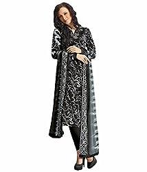 Tangerines Tfw Black Unstitched Salwar Kameez Dress Material