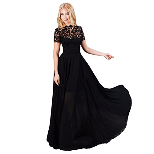 Hengzhi Women's Lace Embroidery Hollow Long Dress Short Sleeve Classic Elegant (Old Dresses For Women compare prices)