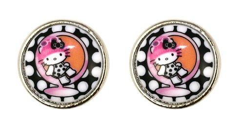 Tarina Tarantino Mod Button Earrings (Black)