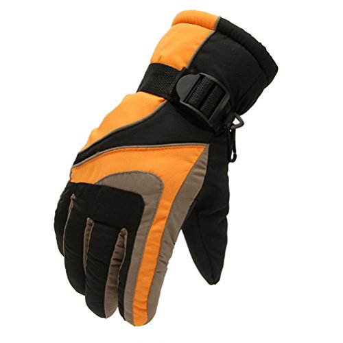 Ski Gloves,Windproof Riding Gloves Imports of Nylon Cloth Winter Orange (Brand New World Walking Rope compare prices)