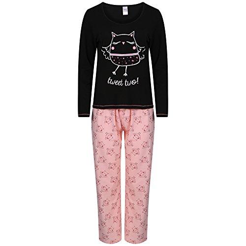 Donna manica lunga Jersey di cotone pigiama. Uccelli, motivo: Bulldog francese o gufo. Misure 10-1214-1618-20 Black/pink Medium
