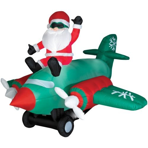 Santa Claus Plane Animated Lighted 7 Ft. Christmas Inflatable