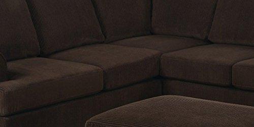 Bobkona Miranda 3-Piece Reversible Sectional with Ottoman Sofa Set, Chocolate