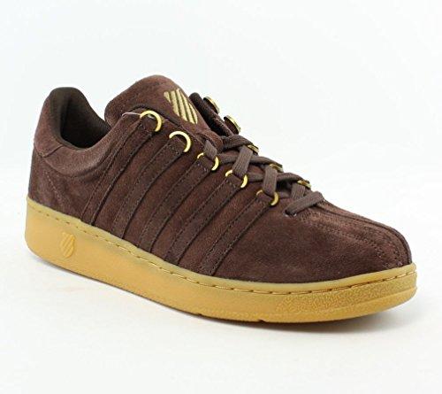 K-Swiss Men's Classic VN Suede Casual Shoe, Chocolate/Gold/Gum, 13 M US