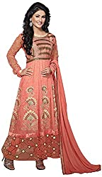 AAINA Women's Georgette Unstitched Dress Material (Orange)