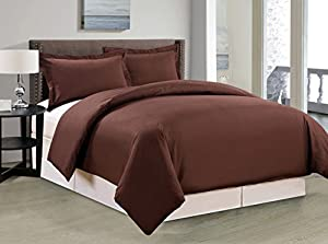 QUEEN BROWN 1500 Series Solid Duvet Cover 3-Piece Set-Super Soft-SALE-Brushed Microfiber- High Thread Count set for Bedroom, Guest Room, Children's Room and RV. Great Gift Idea