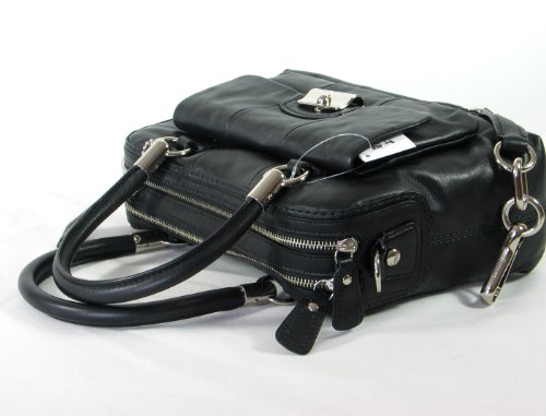 NEW AUTHENTIC COACH KRISTIN LEATHER SATCHEL SHOULDER BAG (Black/Silver)