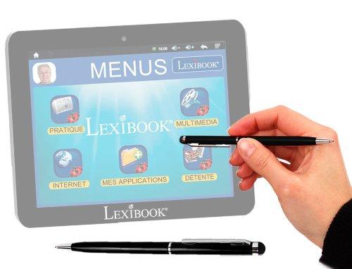 Stylet + stylo bille 2 en 1 haute précision en noir pour écran tablette tactile Lexibook Tablet Serenity Ultra MFC410FR dédiée aux seniors