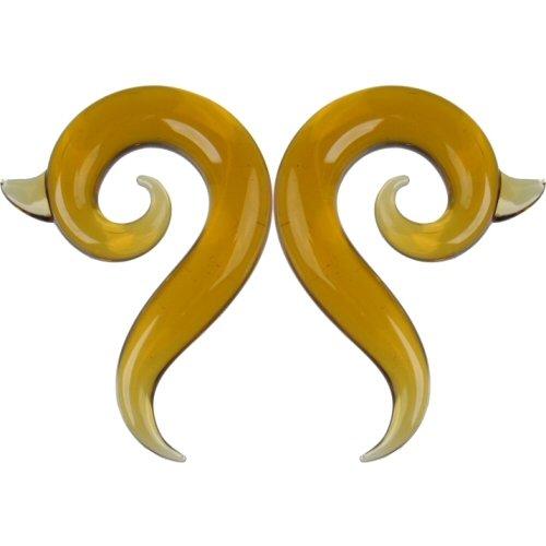 Pair of Glass Borneo Spirals: 000g Honey
