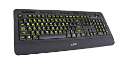 Azio Vision KB506 Backlit USB Keyboard with Large Print Keys and 5 Interchangeable Backlight Colors (Black)