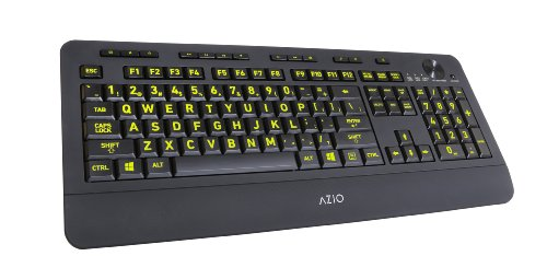Azio Vision Backlit Usb Keyboard With Large Print Keys And 5 Interchangeable Backlight Colors (Kb506)