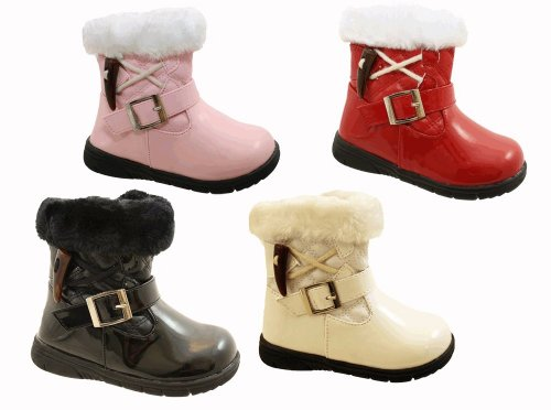 Infant Toddler Baby Little Girls Patent Fur Winter Ankle Boots In Black Pink White Or Red Sizes UK 3 4 5 6 7