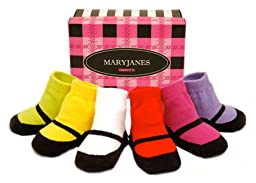 Trumpette Mary Jane 6 Pair Box Set, Brights Assorted, 0-12 Months