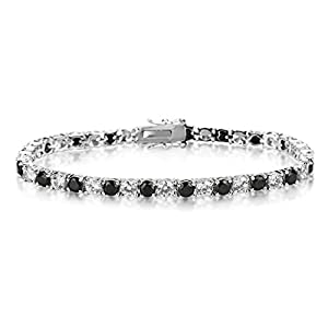 Queen Jewelers Silvertone Black and White Cubic Zirconia Tennis Bracelet 17.2ct TGW