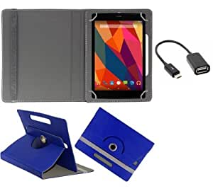 Gadget Decor (TM) PU LEATHER Rotating 360° Flip Case Cover With Stand For Fondi Tablet + Free OTG Cable -Dark Blue