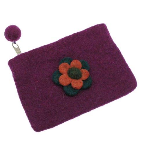Felt Daisy Flower Purse 150 x 100mm - Purple