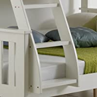 Happy Beds Bunk Bed Atlantis Pinewood White Triple Sleeper Quality Solid Pine Wood With 2x Memory Foam Mattresses