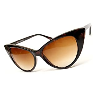 zeroUV® - Super Cateyes Vintage Inspired Fashion Mod Chic High Pointed Cat-Eye Sunglasses (Dark Tortoise)
