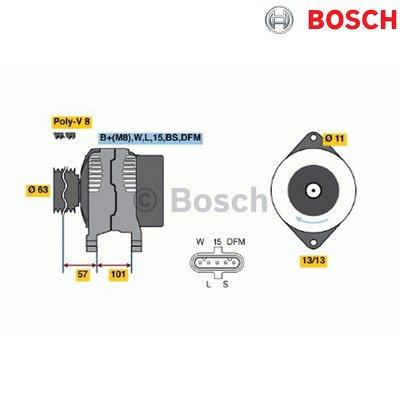 Bosch 0124555009 New Alternator