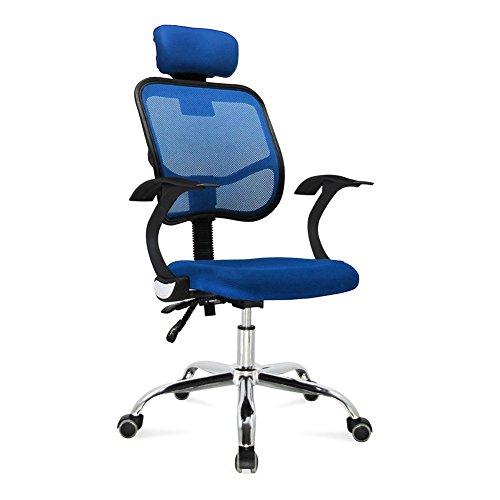 Bandscheiben-Drehstuhl-Acelectronic-Brostuhl-mit-Kopfsttze-Gaming-StuhlSchreibtischstuhl-Chefsessel-mit-Armlehnen-Gaming-chair-Gestell-Nylon-Netzrcken-Stoffbezug-Blau