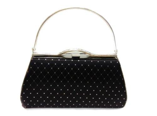 Gossip Girl - Glittery Hard Clutch Purse Evening Bag Rockabilly Jive 50's Swing Style - BLACK