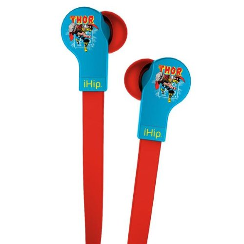 Ihip Mvf-Djz-Th Marvel Avengers Thor Printed Logo Flat Cord Series With Built-In Mic And Volume Control