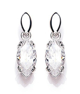 J R Jewellery 439554 White Gold Cubic Zirconia Marquise Drop Earrings Made With Swarovski Elements