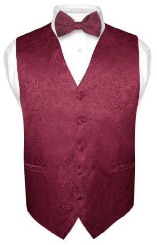 Men'S Paisley Design Dress Vest Bow Tie Burgundy Bowtie Set Size Xlarge