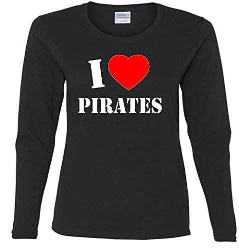 Heart Love Pirates Missy Fit Long Sleeve T-Shirt