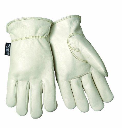 Steiner 0240TM Winter Work Gloves, Top Grain Cowhide 100 Grain Thinsulate Lined Shirred Wrist, Medium (Off White)