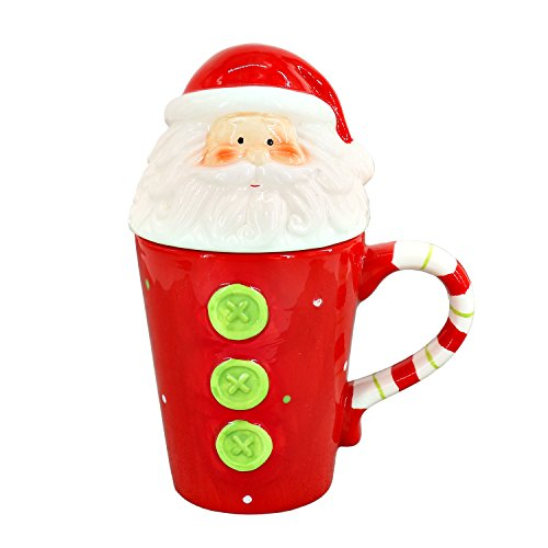 Ceramic Coffee Mug, Red Christmas Vacation Mug - Santa Head Ceramic Tea Cup with Lid and Handle for kids Christmas Gifts - 13 Oz (Ceramic Santa Head compare prices)