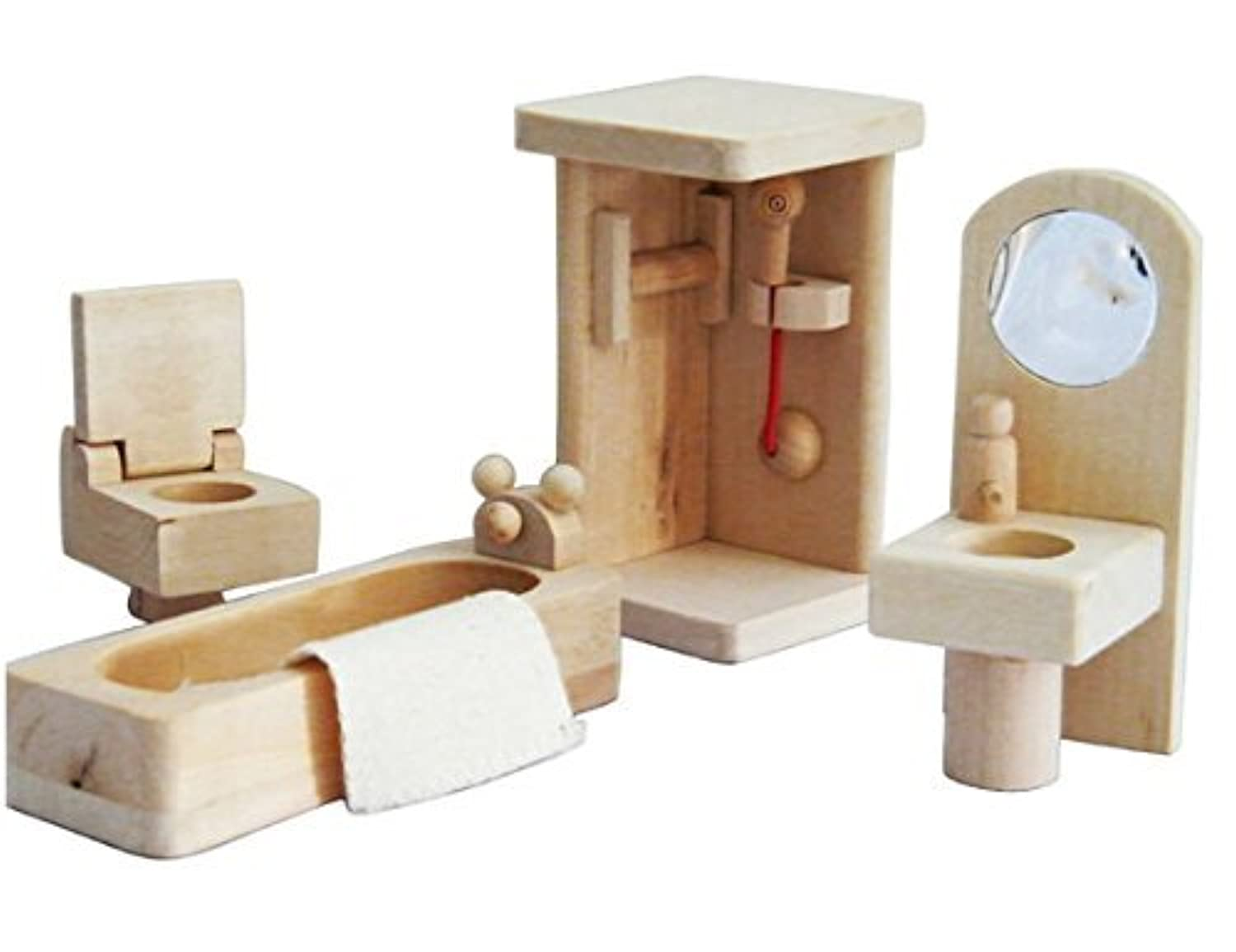Mini Wooden Dollhouse Furniture Set Bathroom By Xyshop