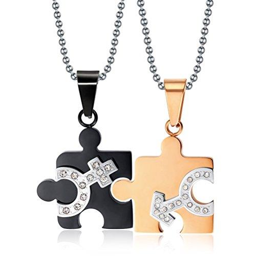 In acciaio inox e zirconia cubica, con doppio simbolo uomo, coppia, Puzzle da collana con pendente, catenina inclusa
