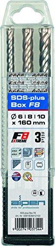 alpen-SDS-plus-Hammerbohrer-F8-extreme-4-Schneiden-Durchmesser-6-8-10-x-160-mm-als-3-teiliger-Satz-in-der-KunststoffBox-81606810100