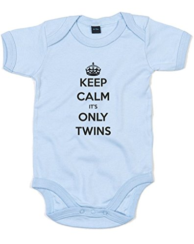 Keep Calm It'S Only Twins, Printed Baby Grow - Dusty Blue/Black 0-3 Months