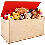 """Little Helper 90 X 46 X 43.5 Cm Large """"Toytidy"""" Toy Storage Box with Slow-drop, No-slam Lid Safety Device (Maple\ Red)"""