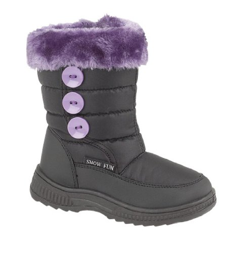 Girls Fleece Lined Snow Boots Size UK 7.5 Eu 25 Black & Lilac