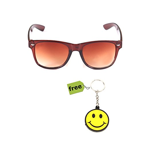 Elligator Trendy Brown Wayfarer Sunglass With Stylish Smiley Key Chain Combo (Set Of 2)  available at amazon for Rs.179