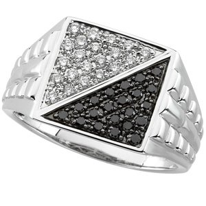 Mens 14kt White Gold Black and White Diamond Ring Size 10 (1/2ct G-H Color, I1 Clarity), Size 10